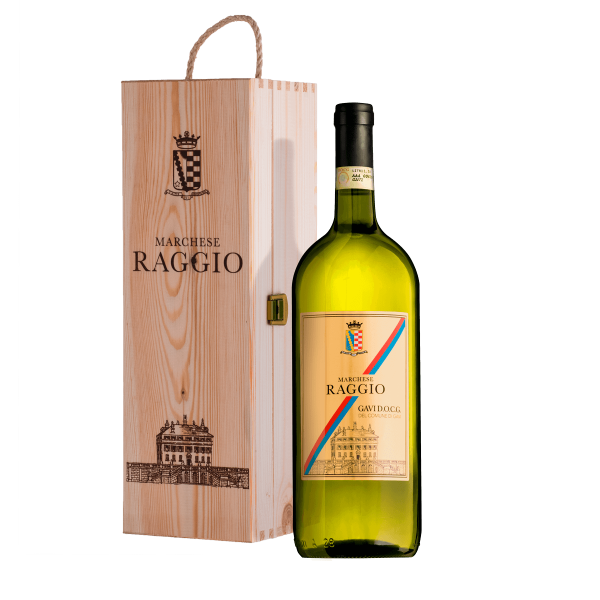 White Wine Gavi DOCG Magnum in an elegant wooden box.